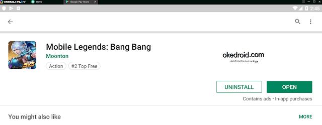 Pilih OPEN Mobile Legends Google Play Store