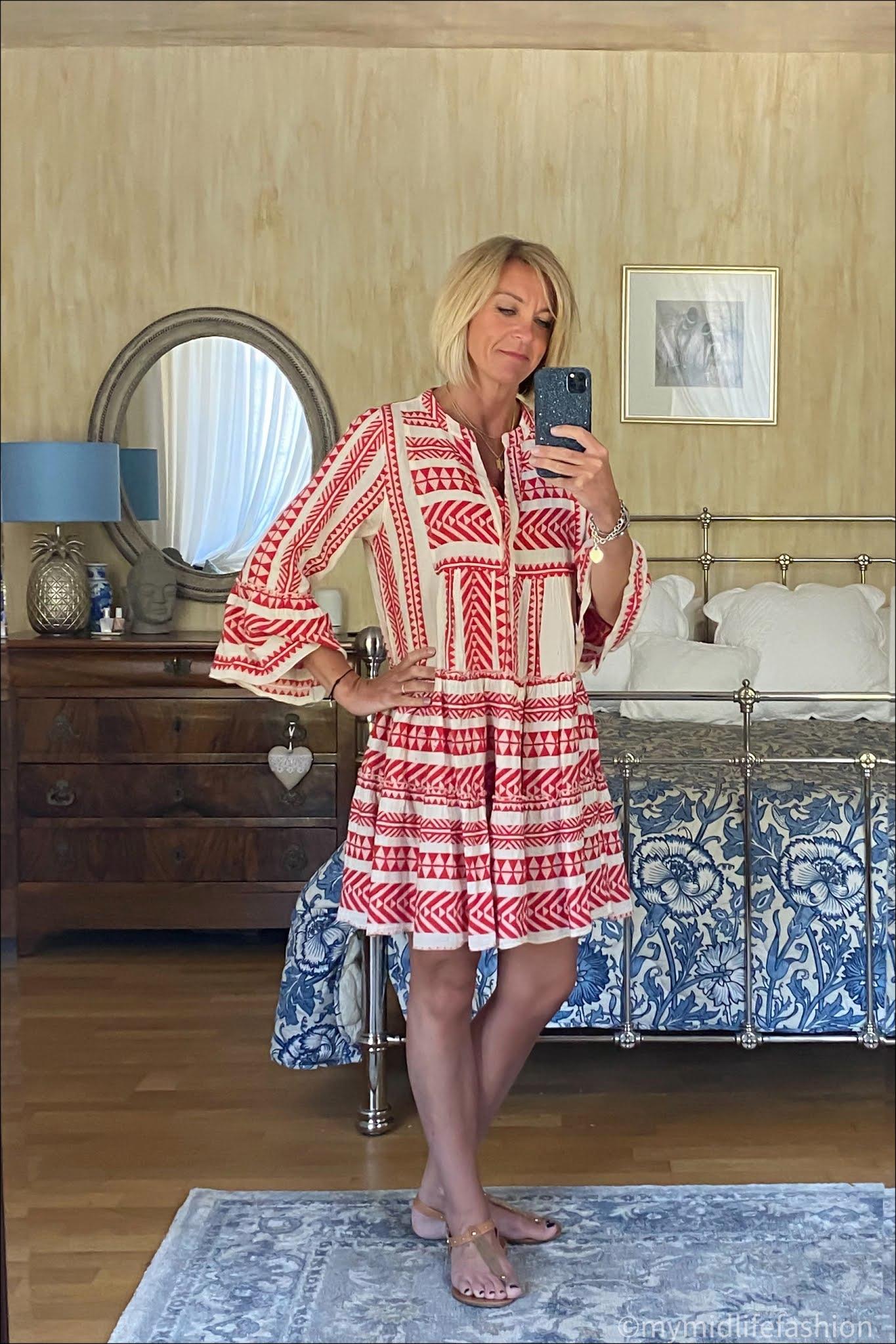 my midlife fashion, devotion mini dress, carvela leather thong sandals