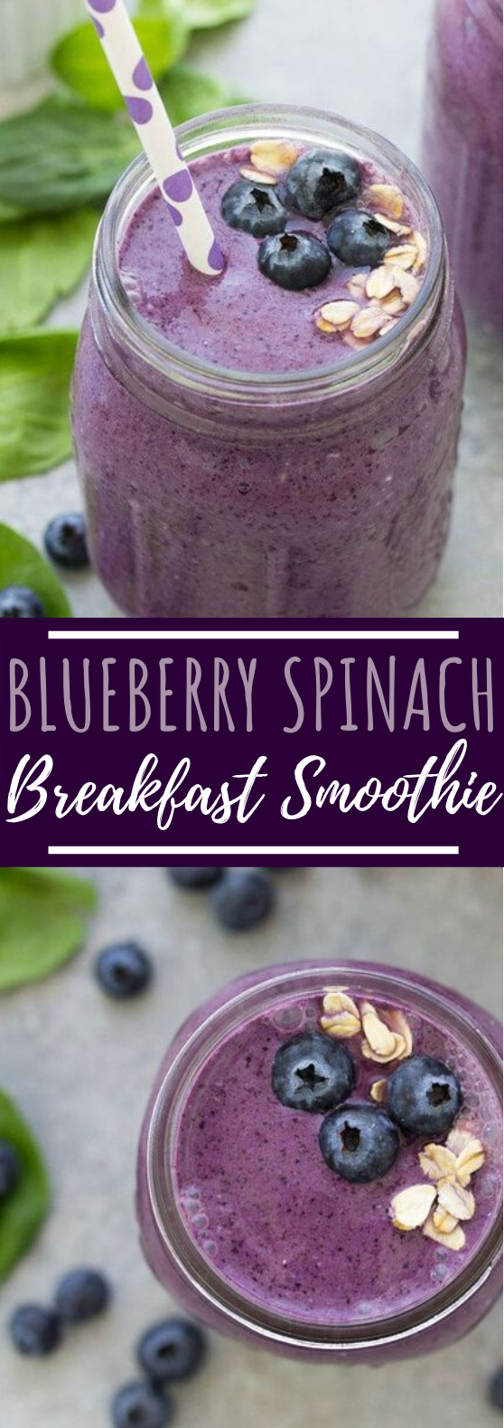 Blueberry Spinach Breakfast Smoothie #healthy #drinks #breakfast #smoothies #juice