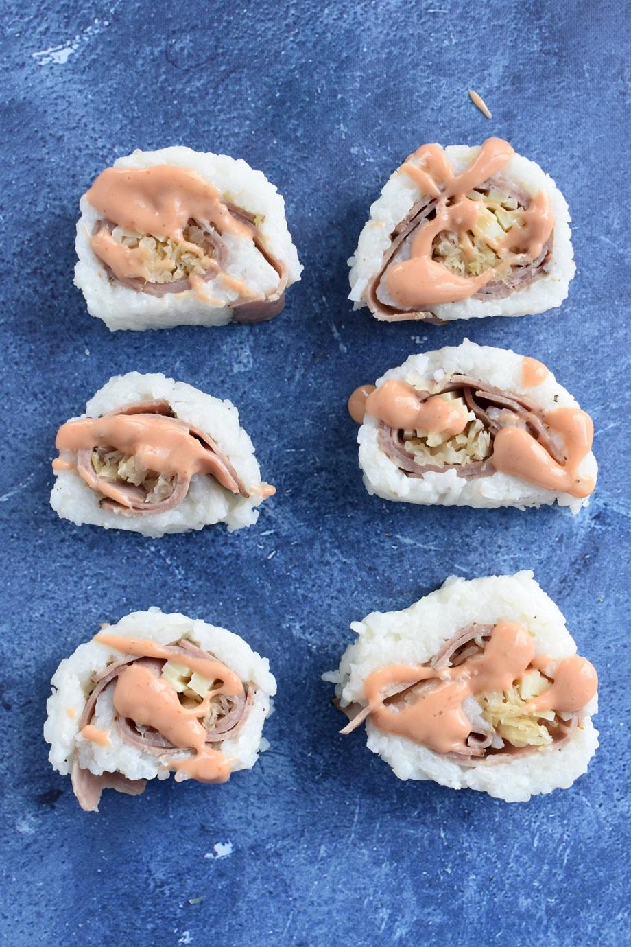 6 reuben sushi rolls