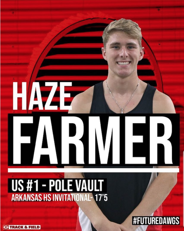 Pole vaulting record set in Coca-Cola Relays at Nashville, Arkansas by Haze Farmer; Ashdown teams make strong showing