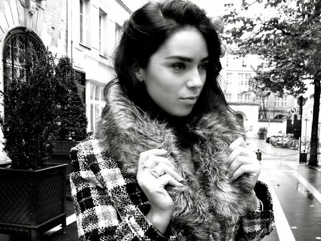 Black and white check coat