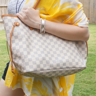 yellow floral kimono with Louis Vuitton MM damier azur neverfull | awayfromtheblue