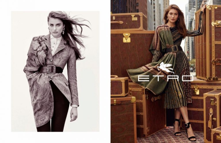 Etro enlists a cast of leading faces including Taylor Hill and Grace Elizabeth for fall 2019 campaign