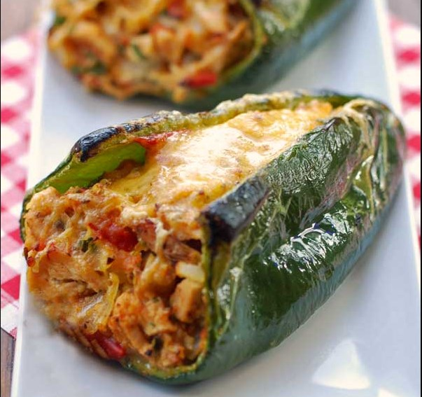 Stuffed Poblano Peppers #diet #chicken