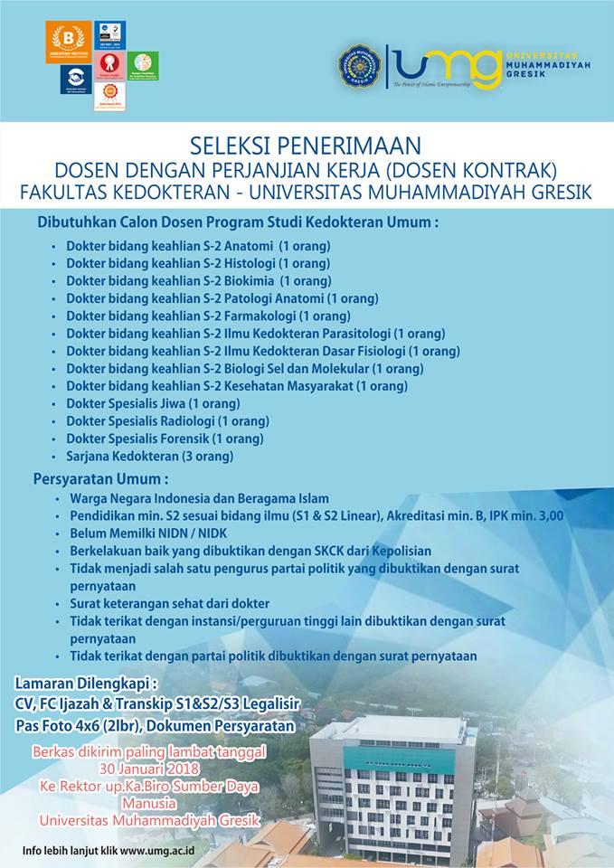 LOWONGAN DOSEN Prodi Kedokteran Umum Universitas Muhammadiyah Gresik (UMG) TERBARU