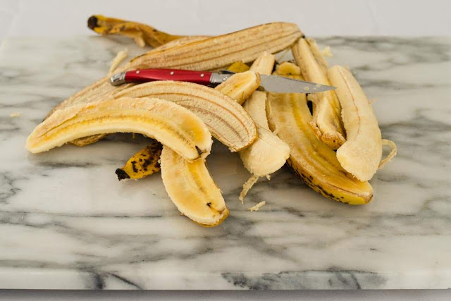peeled over ripe banana