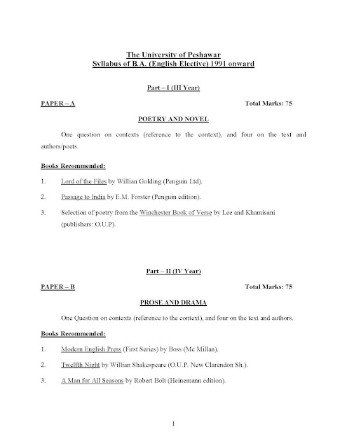 "BA English Compulsory Syllabus University of Peshawar""BA English Elective Syllabus"""