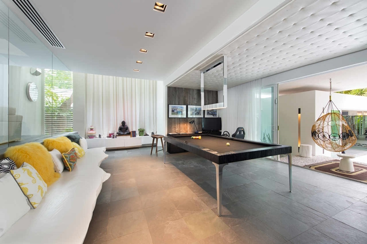 Modern pool table in Modern mansion in Miami