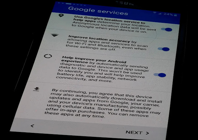 Google Services Proceed to Click Next