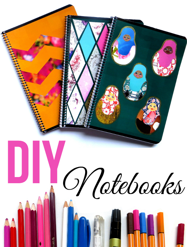DIY notebook cover ideas for back to school. Decorate three notebook covers by recycling old magazines into chevron patterns, diamonds and matryoshka dolls.