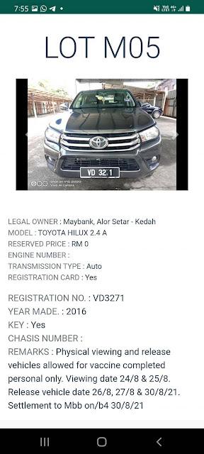 Toyota Hilux 2.4 A (2016) di lelong bermula pada harga Rezab RM0