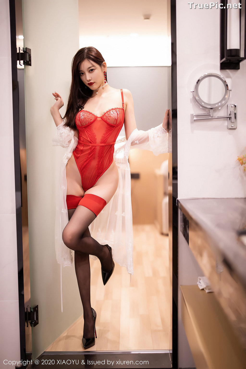Image XiaoYu Vol.413 - Chinese Model - Yang Chen Chen (杨晨晨sugar)- Red Crystal-clear Lingerie - TruePic.net - Picture-22