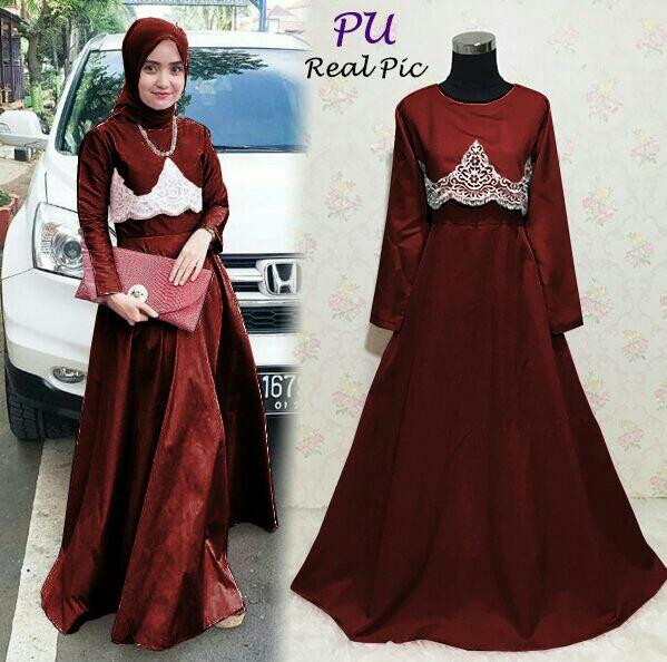 Elena Maron Dress Pesta Hijabers Dress Baju Lebaran Hijab