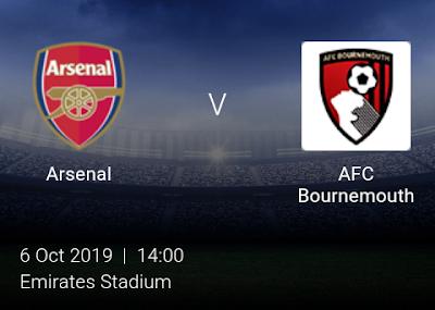 LIVE MATCH: Arsenal Vs AFC Bournemouth Premier League 06/10/2019