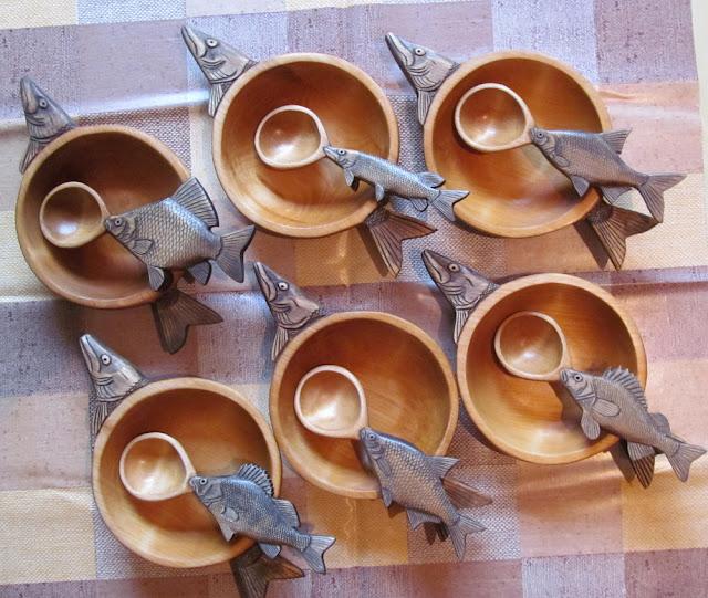 деревянные резной набор для рыбацкой ухи