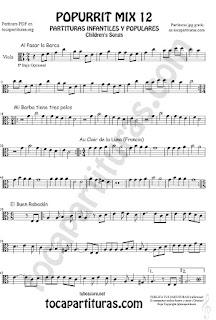 Partitura de Viola Popurrí Mix 12 Partituras de Al Pasar la Barca, Mi Barba tiene tres pelos, El buen rabadan, Aur Clair de la luna Infanti Sheet Music for Viola Music Score