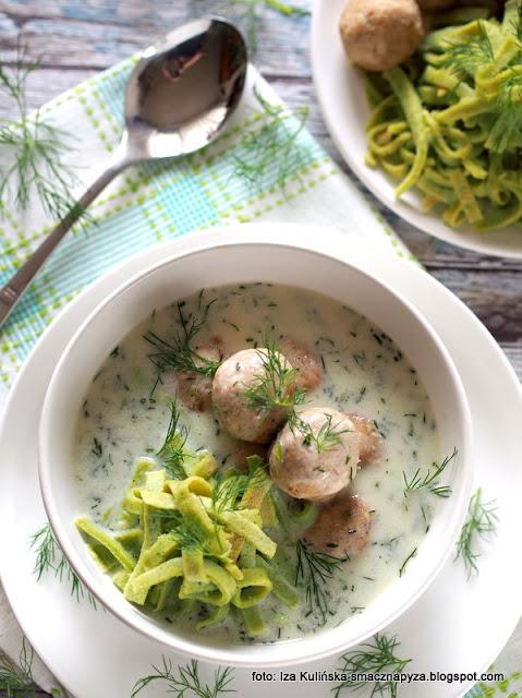 zupa z koperkiem , kluseczki naleśnikowe , pulpety z gotowanego indyka , obiad , zupa z wkładką , na rosole , pulpeciki , kluski , kuchnia polska