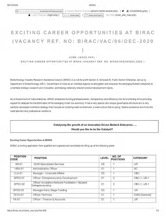 BIRAC Recruitment 2020 DGM, Administrative Officer, Manager, Officer – 13 Posts birac.nic.in Last Date 06-02-2021