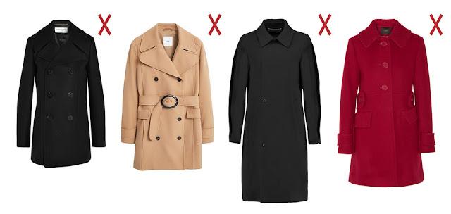 Прямое пальто, пальто тренч, обтягивающее пальто и пальто с карманами