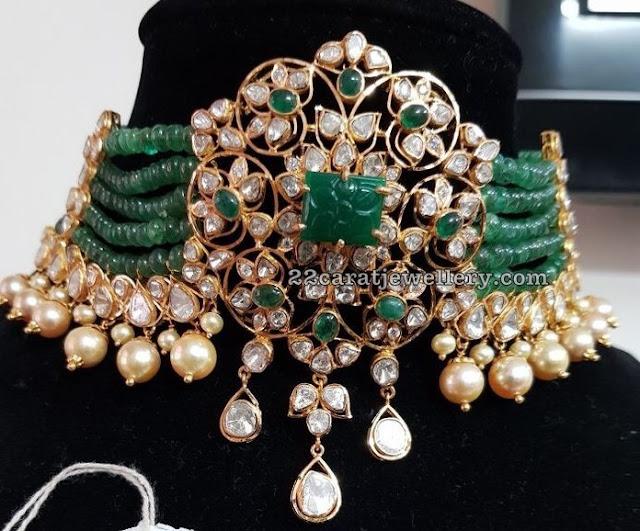Polki Choker with Emerald Beads Layers