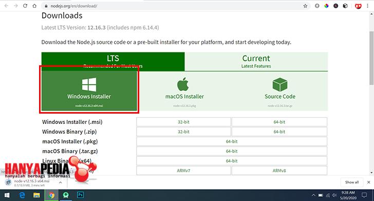 Download gratis node.js dan npm