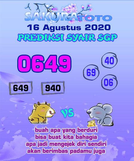 Syair Sakuratoto SGP Minggu 16 Agustus 2020