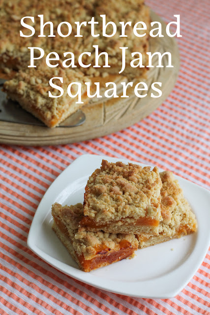 Food Lust People Love: Make Shortbread Peach Jam Squares by surrounding bright sweet peach jam with crumbly buttery shortbread and baking it all to golden perfection!