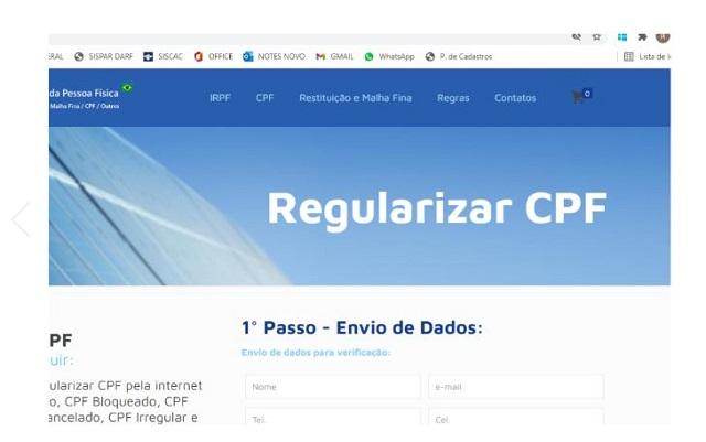Alerta sobre fraude ao tentar regularizar o CPF