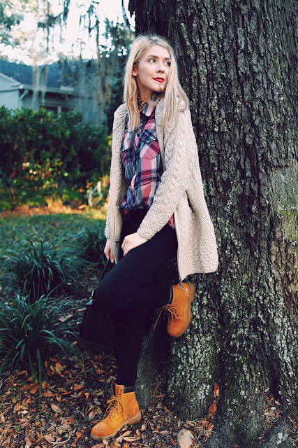 plaid button down, cable knit cardigan