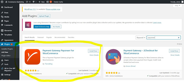 Busca el Plug In que se llama Payment Gateaway Payoneer For WooCommerce , instalaló y activaló.
