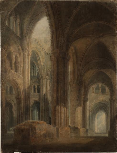 JMW Turner - Cathédrale de Durham : intérieur, vue vers l'est le long de l'aile sud, 1797-1798 Photo © Tate