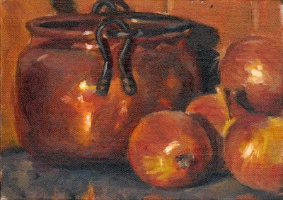 Oil painting of a copper pot beside a small pile of brown onions.