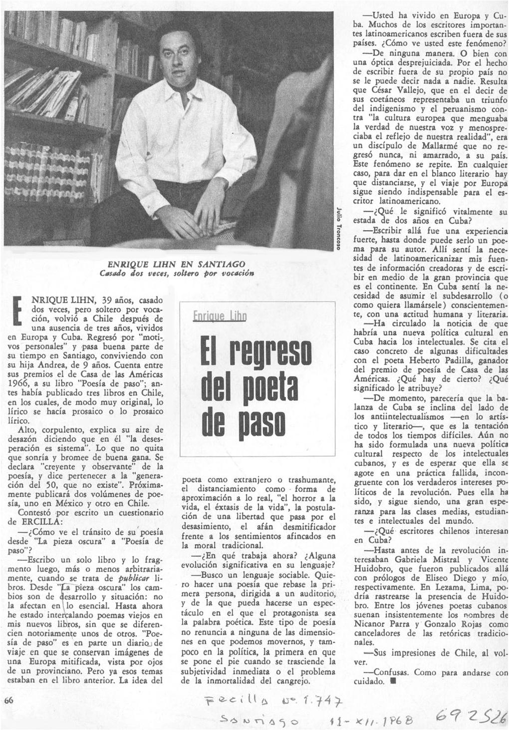 Entrevista a Enrique Lihn: El regreso del poeta de paso