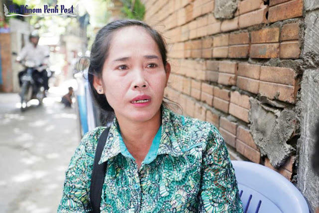 CNRP supporter Chin Nheb speaks to reporters at CNRP headquarters earlier this month. Hong Menea