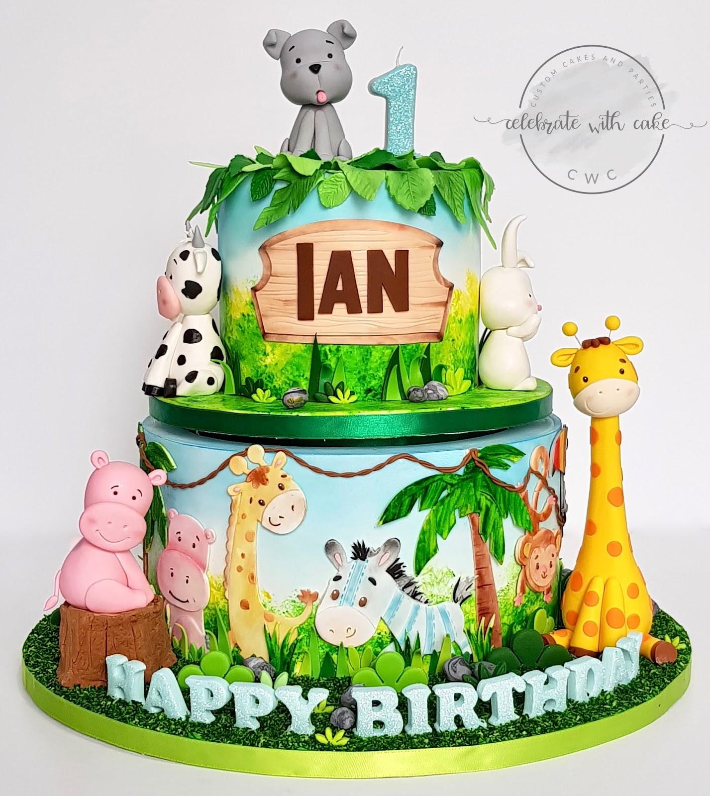 Celebrate With Cake Safari Themed Rotating Cake 1st Birthday