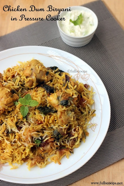 Chicken Dum Biryani in Pressure Cooker
