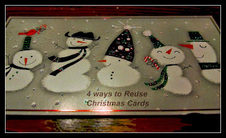 A snowman card I reused for gift tags