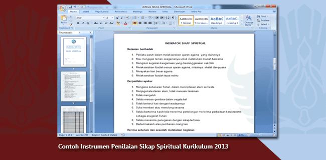 Contoh Instrumen Penilaian Sikap Spiritual Kurikulum 2013
