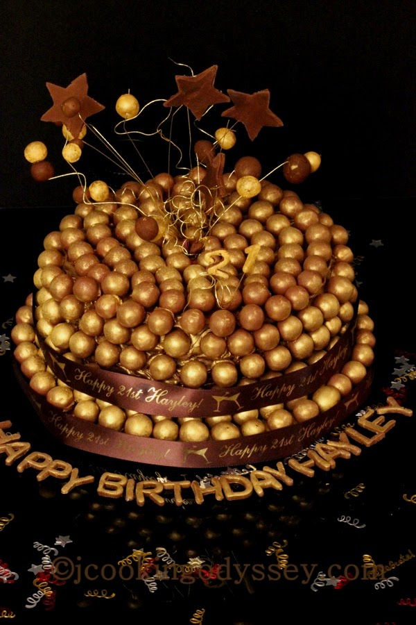 Gilded Chocolate And Caramel Maltesers Ombre Cake 21stBirthday Milestone Sinful Daughter