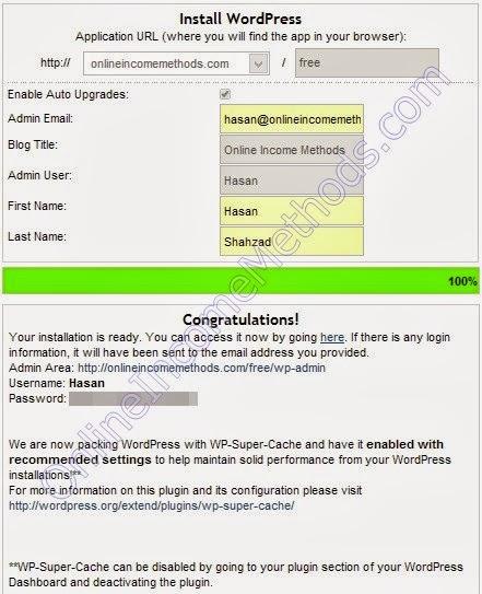 QuickInstall App - WordPress Blog at HostGator - Success Message