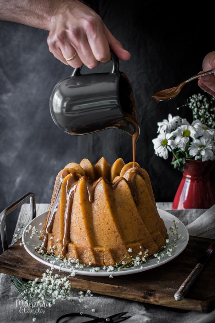 Pudding de sobaos pasiegos y dulce de leche. Receta muy fácil.