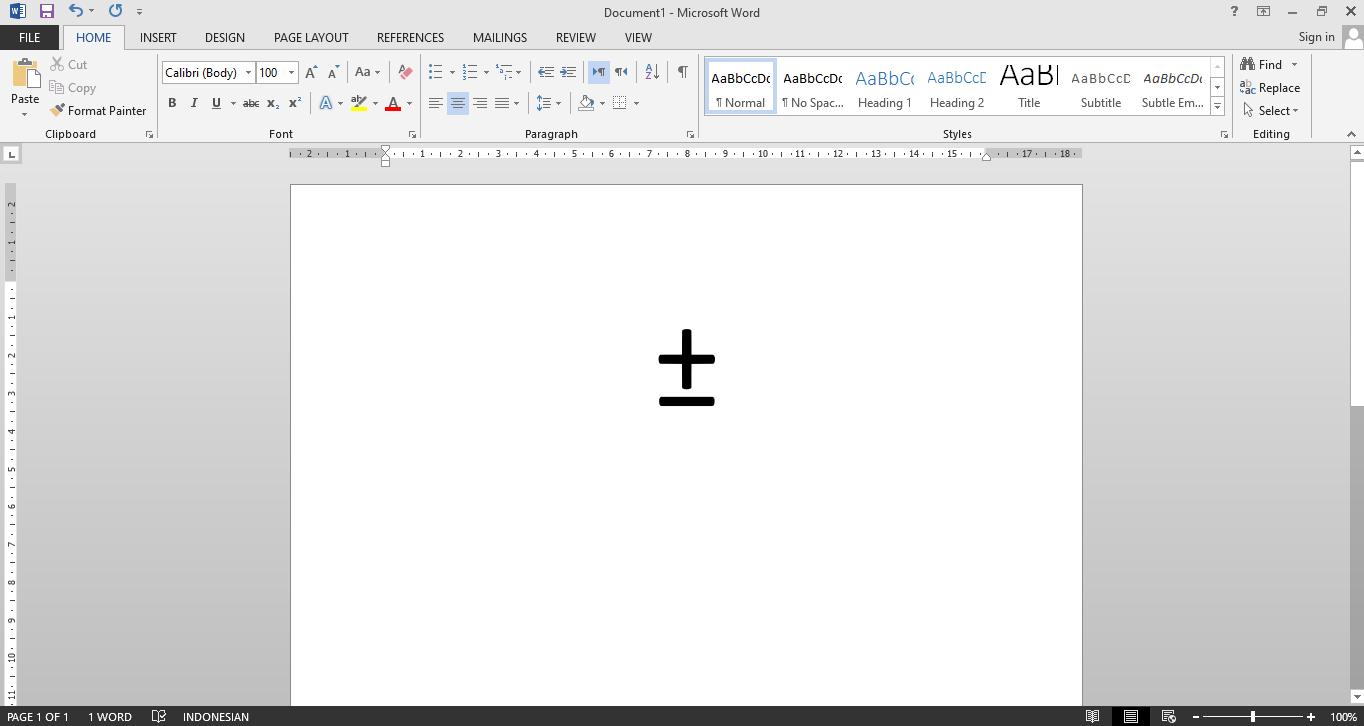 cara membuat simbol kurang lebih di word