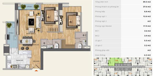 Thiết kế căn hộ 89m2, 2 phòng ngủ, Mon Central