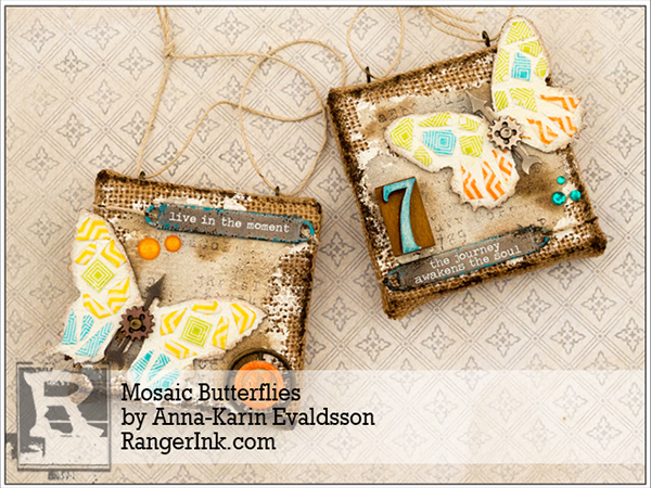 Layers of ink - Mosaic Butterflies tutorial by Anna-Karin, Ranger Ink guest post