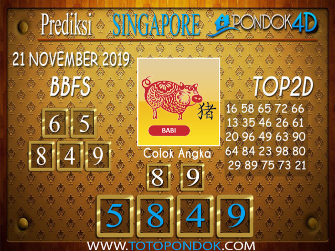 Prediksi Togel SINGAPORE PONDOK4D 21 NOVEMBER 2019