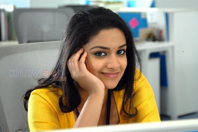 hot Smile of Keerthi Suresh  in yellow chudidhar