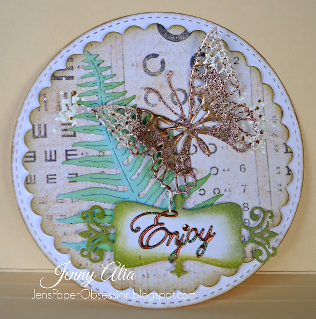 Mixed media paper crafting merry christmas card - Jen S Paper Obsession