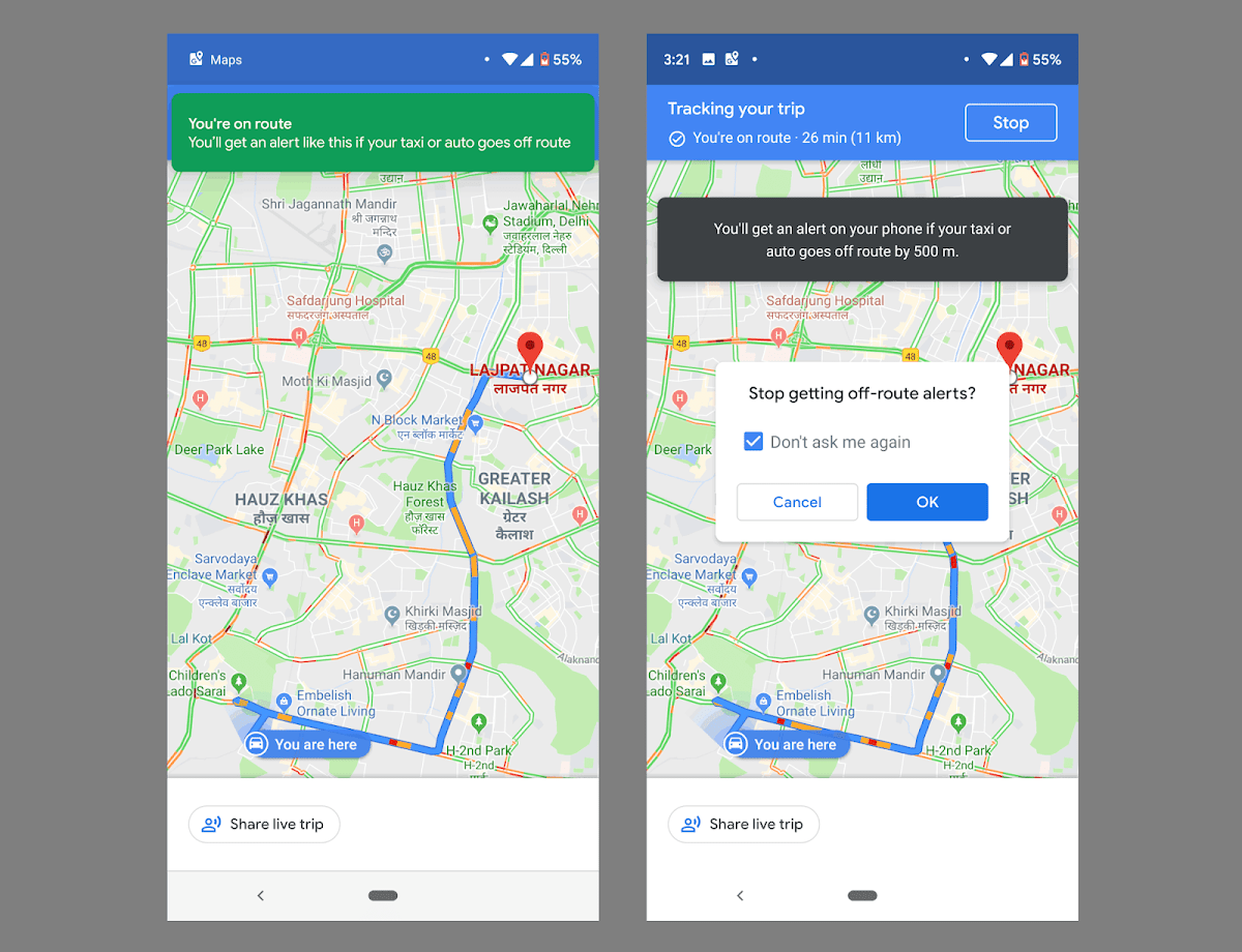 The New Google Maps Alert May Make Raid-Hailing Service Safer