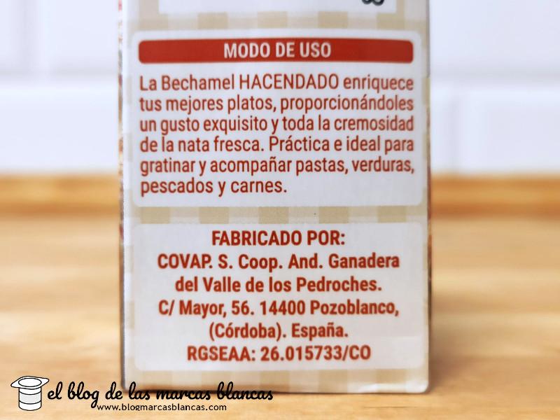 Salsa bechamel Hacendado de Mercadona fabricada por Covap en Pozoblanco (Córdoba) - El Blog de las Marcas Blancas